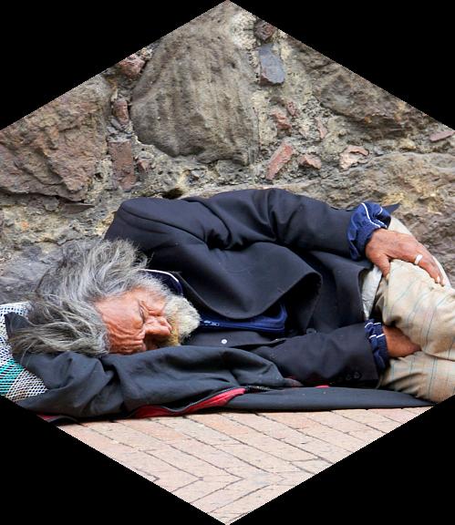 homeless old man sleeping