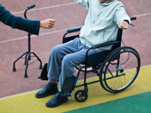 old man in a wheelchair