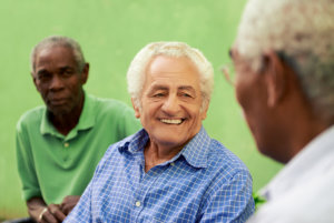 old man in a group therapy